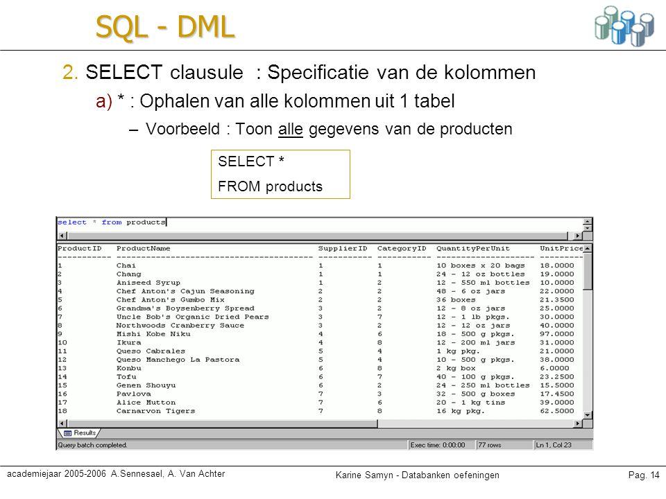 Karine Samyn - Databanken oefeningenPag. 14 academiejaar 2005-2006 A.Sennesael, A. Van Achter SQL - DML 2. SELECT clausule : Specificatie van de kolom