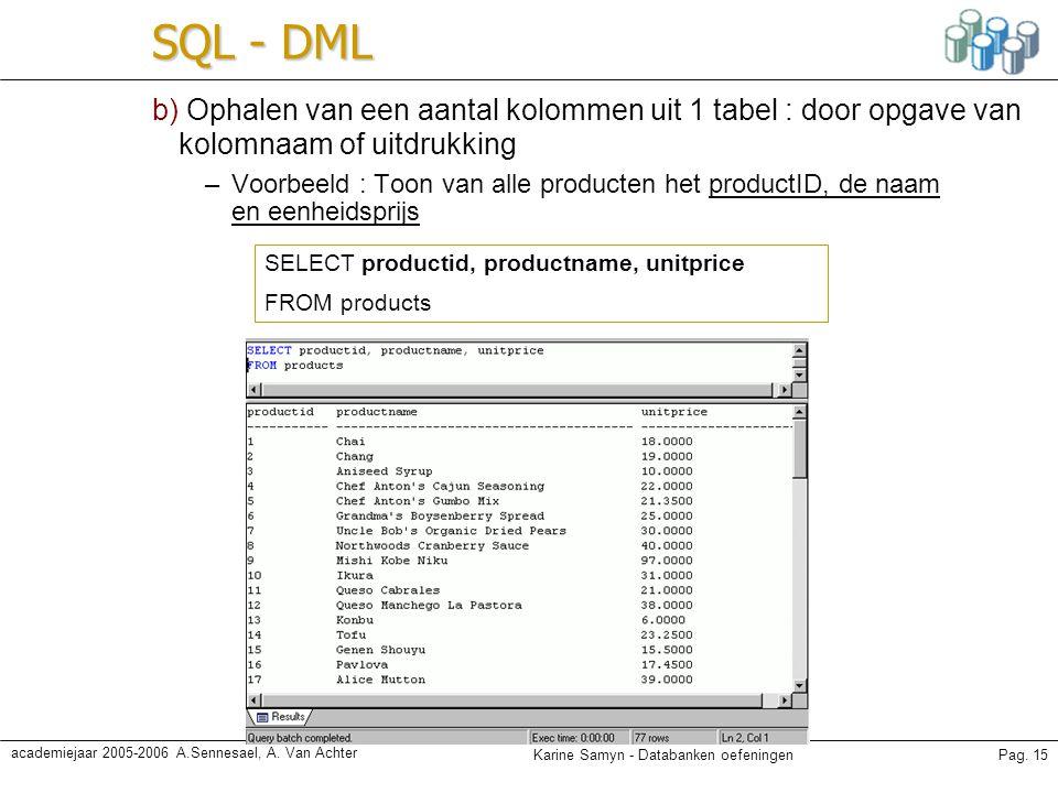 Karine Samyn - Databanken oefeningenPag. 15 academiejaar 2005-2006 A.Sennesael, A. Van Achter SQL - DML b) Ophalen van een aantal kolommen uit 1 tabel