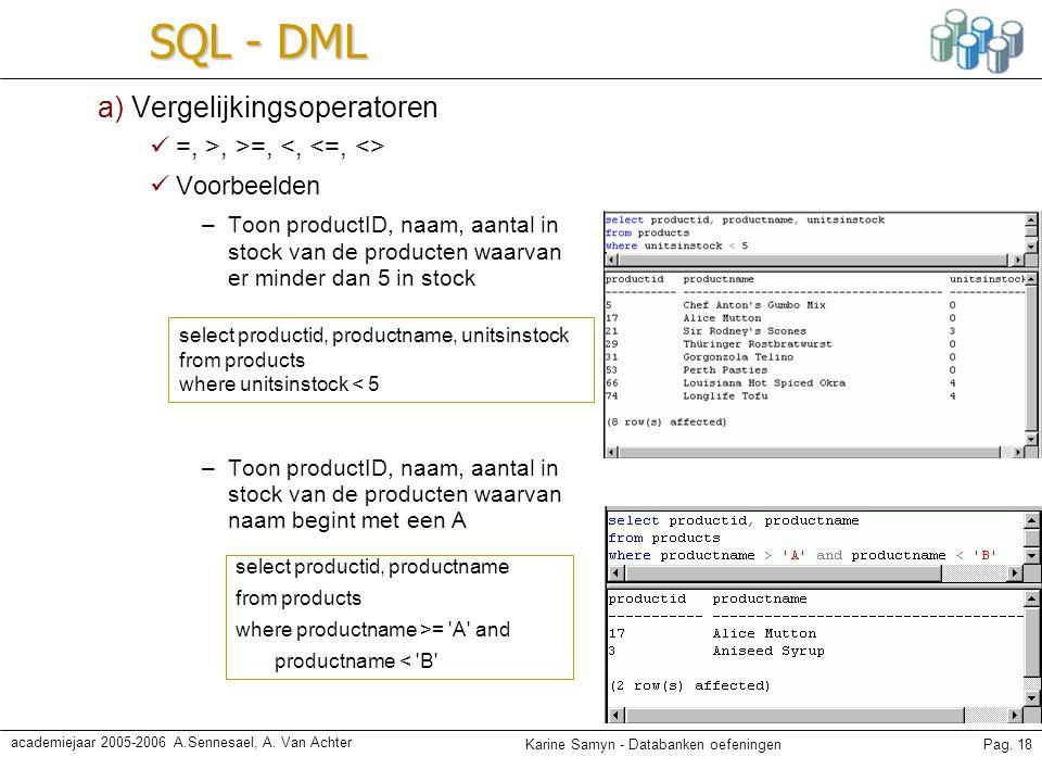 Karine Samyn - Databanken oefeningenPag. 18 academiejaar 2005-2006 A.Sennesael, A. Van Achter SQL - DML a) Vergelijkingsoperatoren =, >, >=, Voorbeeld