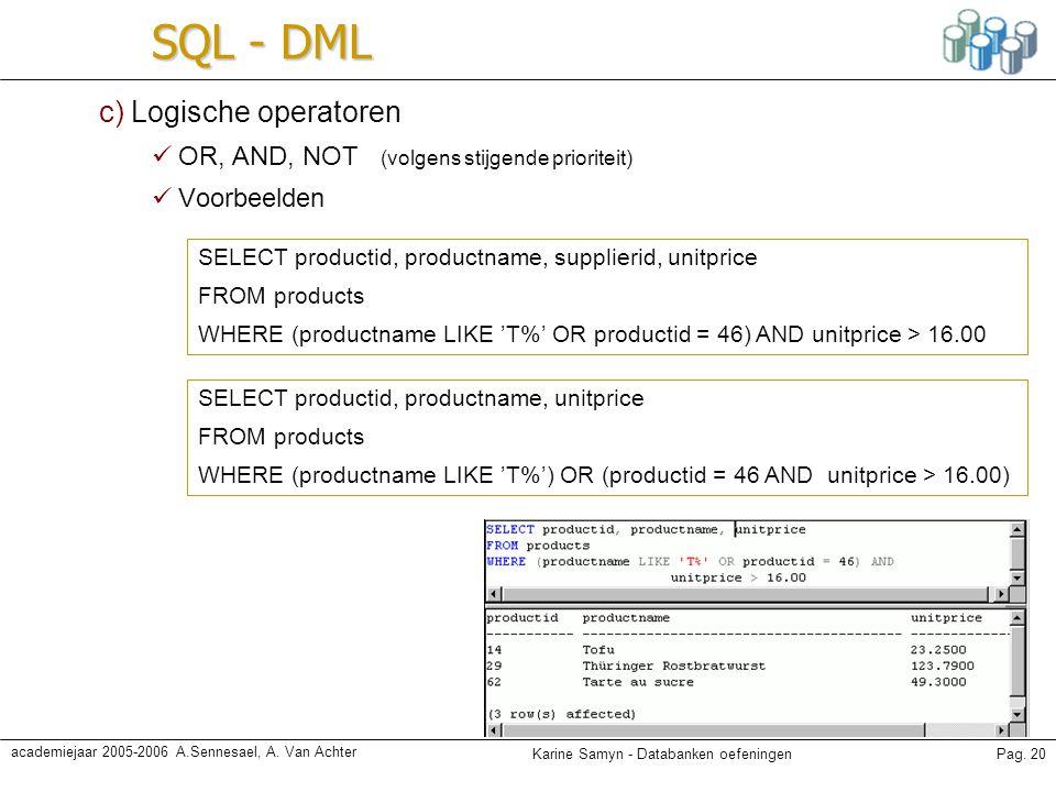 Karine Samyn - Databanken oefeningenPag. 20 academiejaar 2005-2006 A.Sennesael, A. Van Achter SQL - DML c) Logische operatoren OR, AND, NOT (volgens s