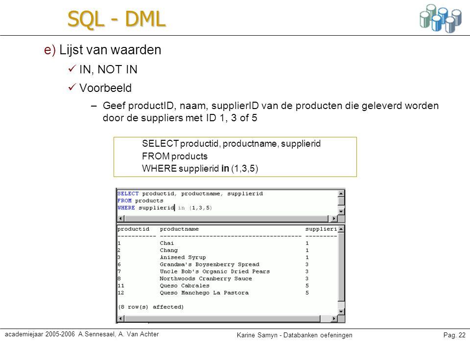 Karine Samyn - Databanken oefeningenPag. 22 academiejaar 2005-2006 A.Sennesael, A. Van Achter SQL - DML e) Lijst van waarden IN, NOT IN Voorbeeld –Gee