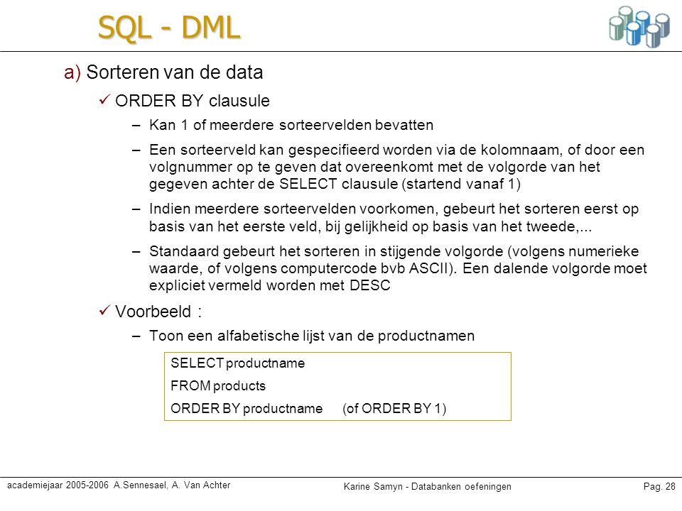 Karine Samyn - Databanken oefeningenPag. 28 academiejaar 2005-2006 A.Sennesael, A. Van Achter SQL - DML a) Sorteren van de data ORDER BY clausule –Kan