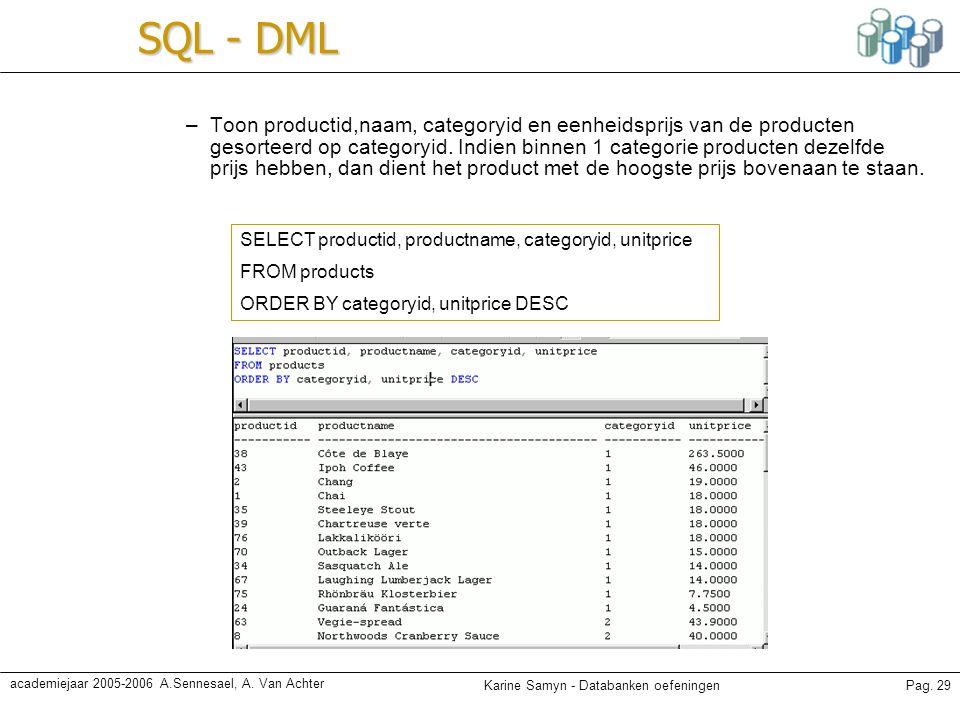 Karine Samyn - Databanken oefeningenPag. 29 academiejaar 2005-2006 A.Sennesael, A. Van Achter SQL - DML –Toon productid,naam, categoryid en eenheidspr