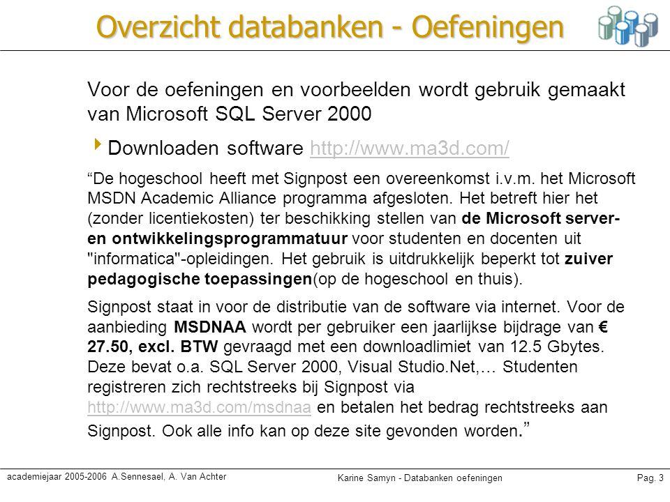 Karine Samyn - Databanken oefeningenPag. 3 academiejaar 2005-2006 A.Sennesael, A. Van Achter Overzicht databanken - Oefeningen Voor de oefeningen en v