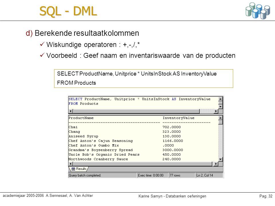Karine Samyn - Databanken oefeningenPag. 32 academiejaar 2005-2006 A.Sennesael, A. Van Achter SQL - DML d) Berekende resultaatkolommen Wiskundige oper