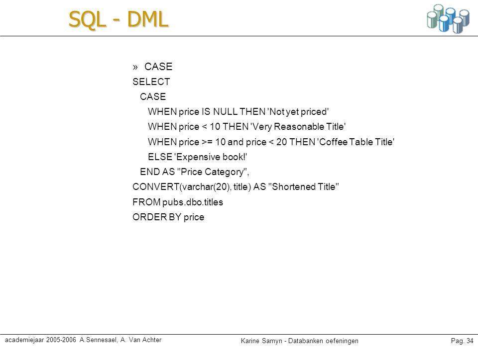 Karine Samyn - Databanken oefeningenPag. 34 academiejaar 2005-2006 A.Sennesael, A. Van Achter SQL - DML »CASE SELECT CASE WHEN price IS NULL THEN 'Not