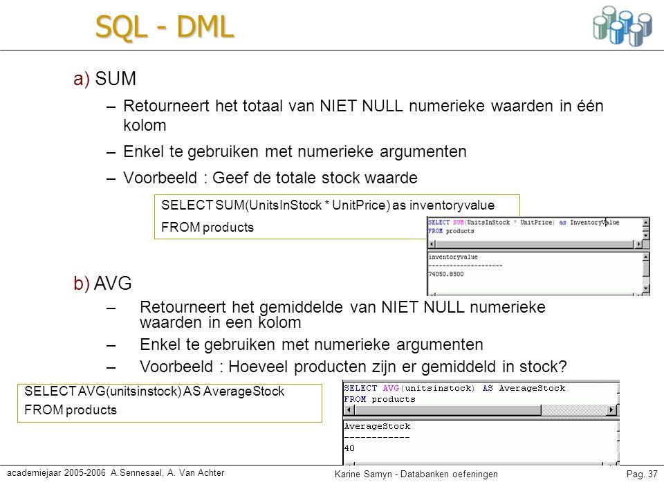 Karine Samyn - Databanken oefeningenPag. 37 academiejaar 2005-2006 A.Sennesael, A. Van Achter SQL - DML a) SUM –Retourneert het totaal van NIET NULL n