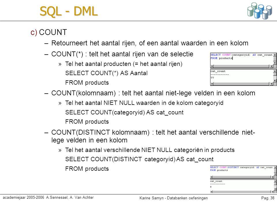 Karine Samyn - Databanken oefeningenPag. 38 academiejaar 2005-2006 A.Sennesael, A. Van Achter SQL - DML c) COUNT –Retourneert het aantal rijen, of een