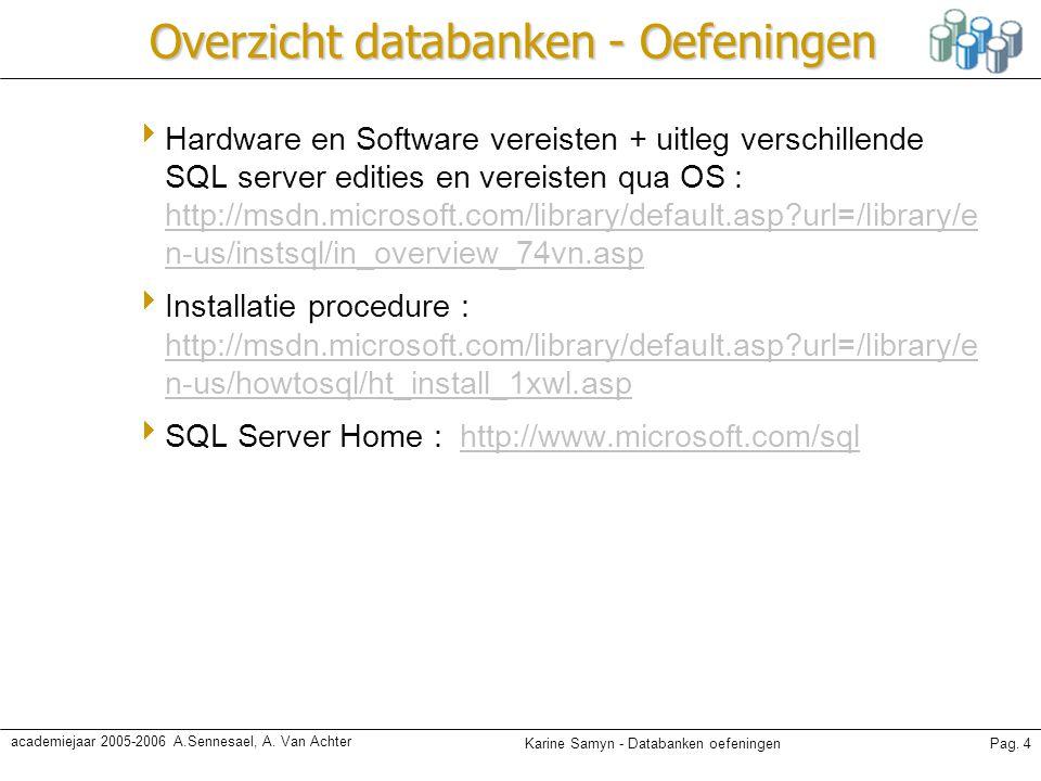 Karine Samyn - Databanken oefeningenPag. 4 academiejaar 2005-2006 A.Sennesael, A. Van Achter Overzicht databanken - Oefeningen  Hardware en Software