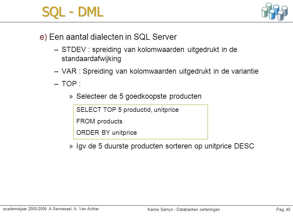 Karine Samyn - Databanken oefeningenPag. 40 academiejaar 2005-2006 A.Sennesael, A. Van Achter SQL - DML e) Een aantal dialecten in SQL Server –STDEV :