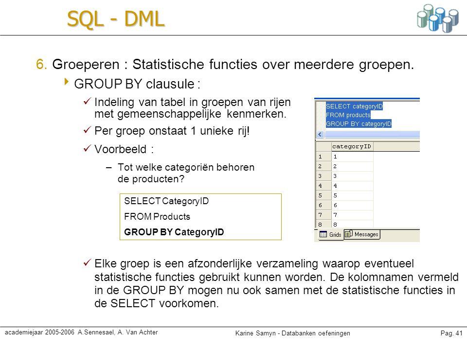 Karine Samyn - Databanken oefeningenPag. 41 academiejaar 2005-2006 A.Sennesael, A. Van Achter SQL - DML 6. Groeperen : Statistische functies over meer