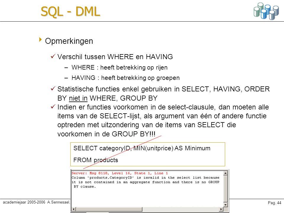 Karine Samyn - Databanken oefeningenPag. 44 academiejaar 2005-2006 A.Sennesael, A. Van Achter SQL - DML  Opmerkingen Verschil tussen WHERE en HAVING