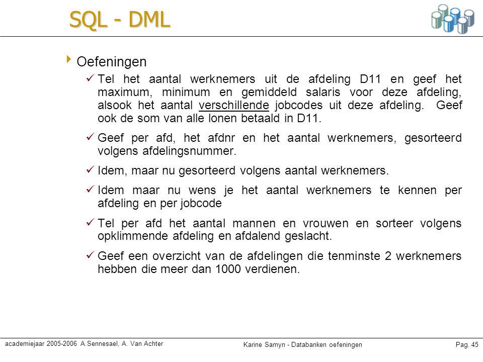 Karine Samyn - Databanken oefeningenPag. 45 academiejaar 2005-2006 A.Sennesael, A. Van Achter SQL - DML  Oefeningen Tel het aantal werknemers uit de