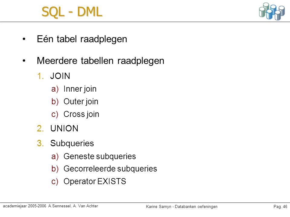 Karine Samyn - Databanken oefeningenPag. 46 academiejaar 2005-2006 A.Sennesael, A. Van Achter SQL - DML Eén tabel raadplegen Meerdere tabellen raadple