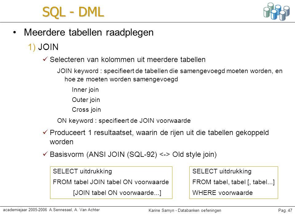 Karine Samyn - Databanken oefeningenPag. 47 academiejaar 2005-2006 A.Sennesael, A. Van Achter SQL - DML Meerdere tabellen raadplegen 1) JOIN Selectere