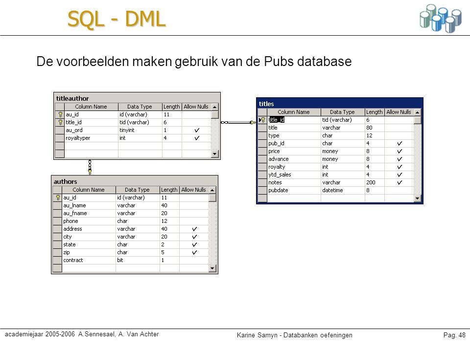 Karine Samyn - Databanken oefeningenPag. 48 academiejaar 2005-2006 A.Sennesael, A. Van Achter SQL - DML De voorbeelden maken gebruik van de Pubs datab