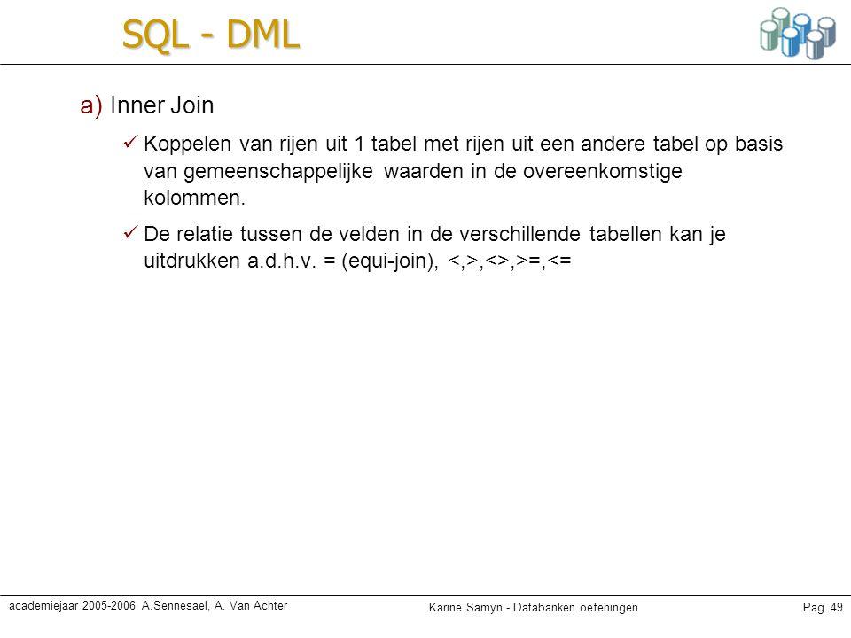 Karine Samyn - Databanken oefeningenPag. 49 academiejaar 2005-2006 A.Sennesael, A. Van Achter SQL - DML a) Inner Join Koppelen van rijen uit 1 tabel m