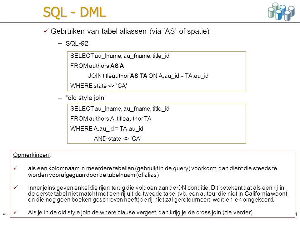 Karine Samyn - Databanken oefeningenPag. 51 academiejaar 2005-2006 A.Sennesael, A. Van Achter SQL - DML Gebruiken van tabel aliassen (via 'AS' of spat