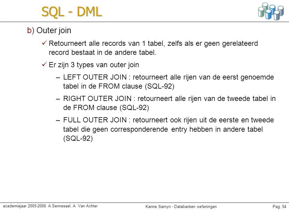 Karine Samyn - Databanken oefeningenPag. 54 academiejaar 2005-2006 A.Sennesael, A. Van Achter SQL - DML b) Outer join Retourneert alle records van 1 t