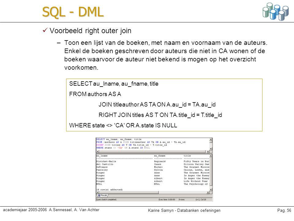 Karine Samyn - Databanken oefeningenPag. 56 academiejaar 2005-2006 A.Sennesael, A. Van Achter SQL - DML Voorbeeld right outer join –Toon een lijst van