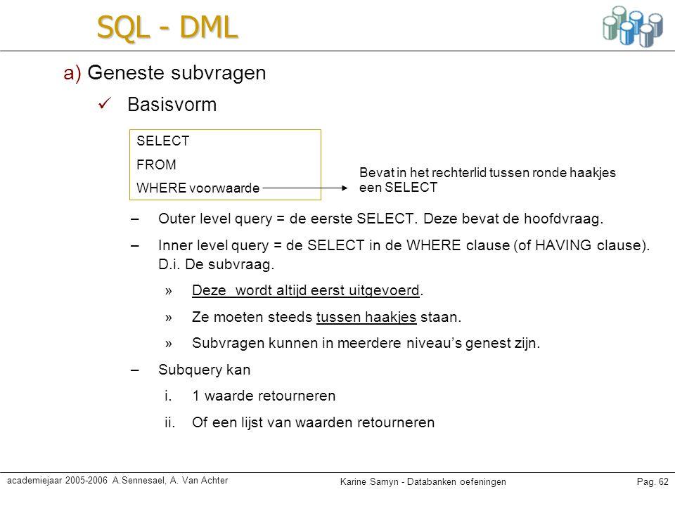 Karine Samyn - Databanken oefeningenPag. 62 academiejaar 2005-2006 A.Sennesael, A. Van Achter SQL - DML a) Geneste subvragen Basisvorm –Outer level qu