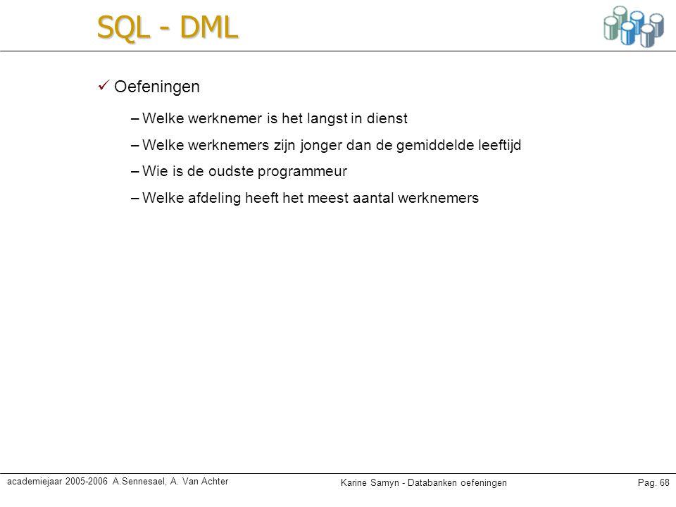 Karine Samyn - Databanken oefeningenPag. 68 academiejaar 2005-2006 A.Sennesael, A. Van Achter SQL - DML Oefeningen –Welke werknemer is het langst in d