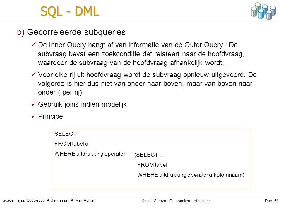 Karine Samyn - Databanken oefeningenPag. 69 academiejaar 2005-2006 A.Sennesael, A. Van Achter SQL - DML b) Gecorreleerde subqueries De Inner Query han