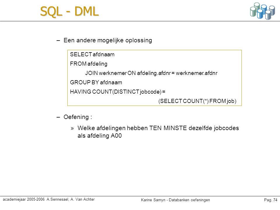Karine Samyn - Databanken oefeningenPag. 74 academiejaar 2005-2006 A.Sennesael, A. Van Achter SQL - DML –Een andere mogelijke oplossing –Oefening : »W