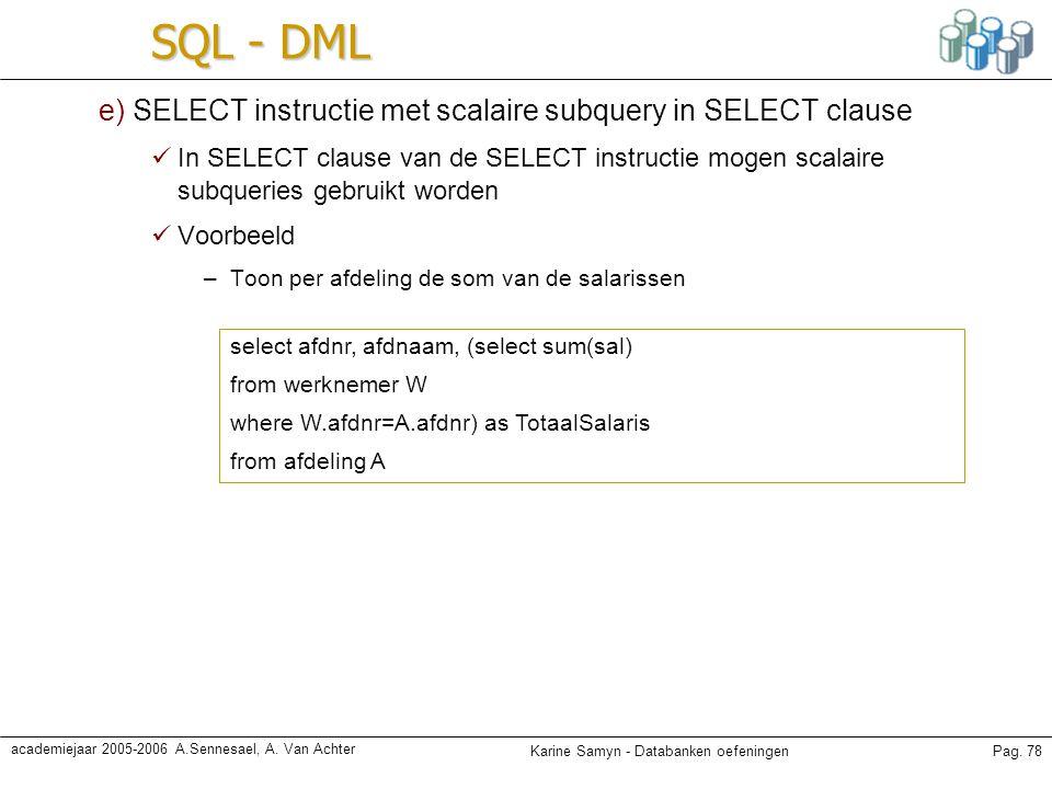 Karine Samyn - Databanken oefeningenPag. 78 academiejaar 2005-2006 A.Sennesael, A. Van Achter SQL - DML e) SELECT instructie met scalaire subquery in