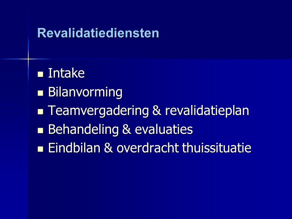 Revalidatiediensten Intake Intake Bilanvorming Bilanvorming Teamvergadering & revalidatieplan Teamvergadering & revalidatieplan Behandeling & evaluati