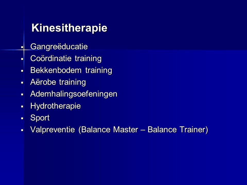 Kinesitherapie  Gangreëducatie  Coördinatie training  Bekkenbodem training  Aërobe training  Ademhalingsoefeningen  Hydrotherapie  Sport  Valp
