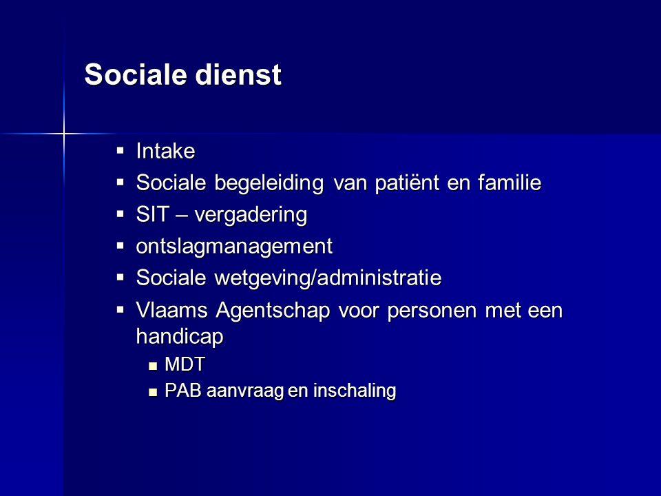 Sociale dienst  Intake  Sociale begeleiding van patiënt en familie  SIT – vergadering  ontslagmanagement  Sociale wetgeving/administratie  Vlaam