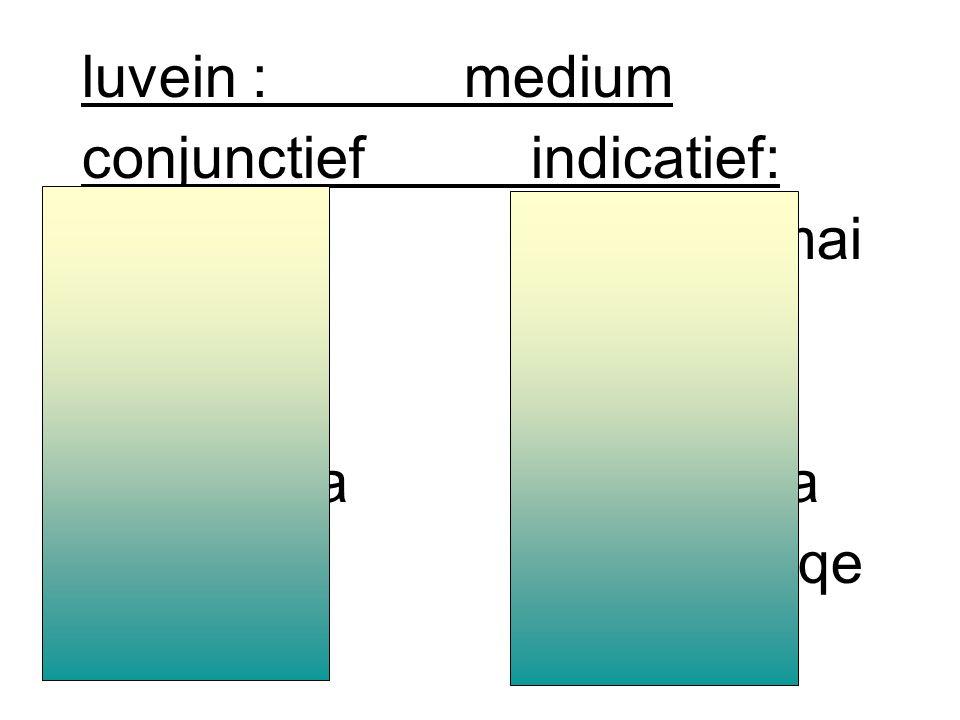 luvein : conjunctief indicatief: luvwluvw luvh/VluveiV luvh/luvei luvwmenluvomen luvhteluvete luvwsi(n)luvousi