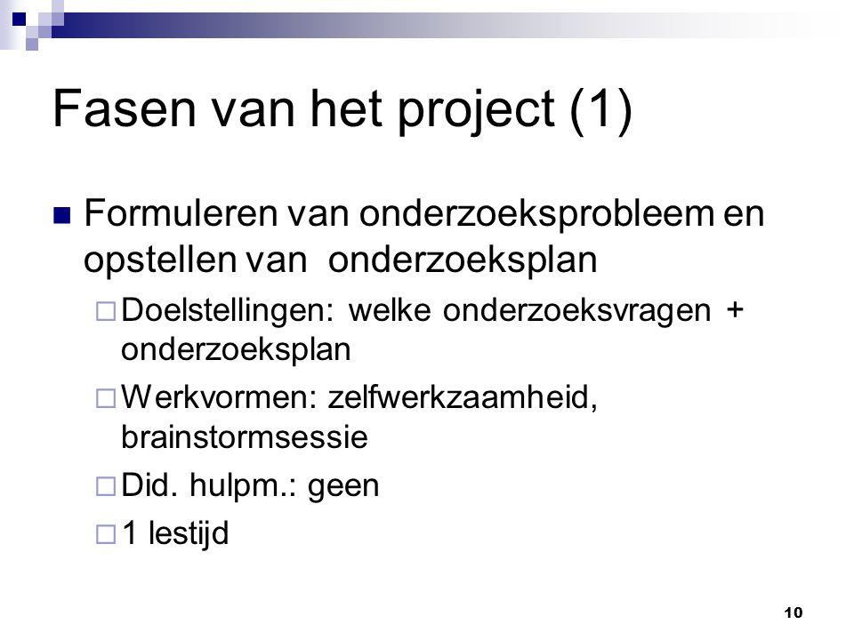 Fasen van het project (1) Formuleren van onderzoeksprobleem en opstellen van onderzoeksplan  Doelstellingen: welke onderzoeksvragen + onderzoeksplan  Werkvormen: zelfwerkzaamheid, brainstormsessie  Did.