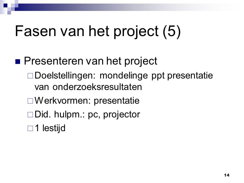Fasen van het project (5) Presenteren van het project  Doelstellingen: mondelinge ppt presentatie van onderzoeksresultaten  Werkvormen: presentatie  Did.