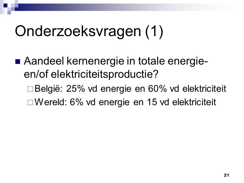 Onderzoeksvragen (1) Aandeel kernenergie in totale energie- en/of elektriciteitsproductie.