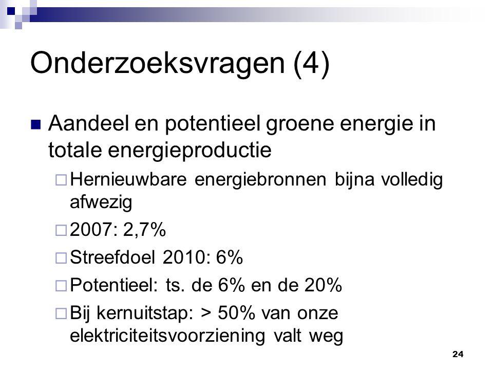 Onderzoeksvragen (4) Aandeel en potentieel groene energie in totale energieproductie  Hernieuwbare energiebronnen bijna volledig afwezig  2007: 2,7%  Streefdoel 2010: 6%  Potentieel: ts.