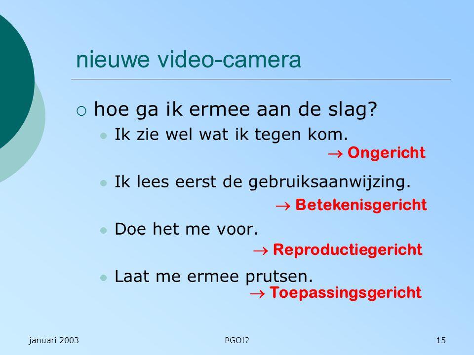 januari 2003PGO!?15 nieuwe video-camera  hoe ga ik ermee aan de slag? Ik zie wel wat ik tegen kom. Ik lees eerst de gebruiksaanwijzing. Doe het me vo