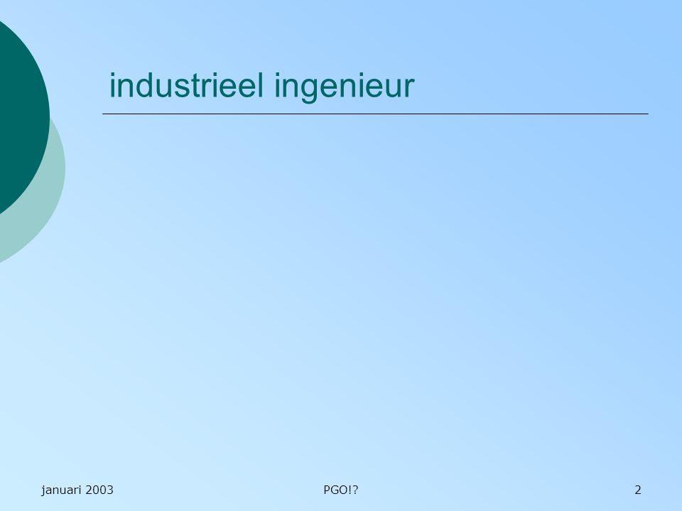 januari 2003PGO!?2 industrieel ingenieur