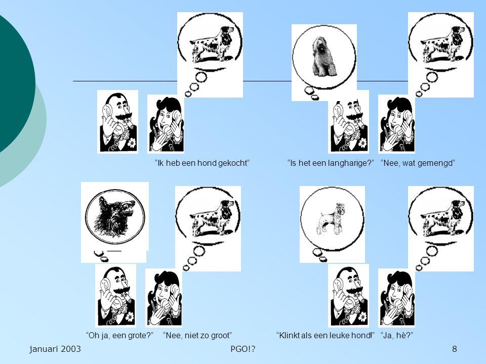 januari 2003PGO!?19 Concrete ervaring Abstract conceptualiseren Actiefexperimenteren Reflectieveobservatie
