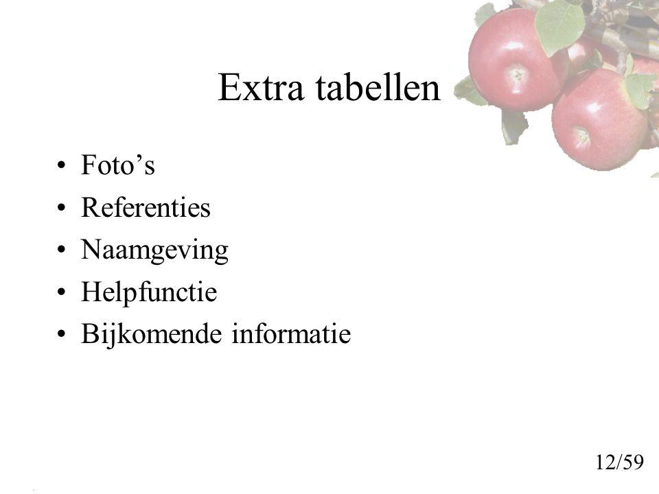Extra tabellen Foto's Referenties Naamgeving Helpfunctie Bijkomende informatie 12/59