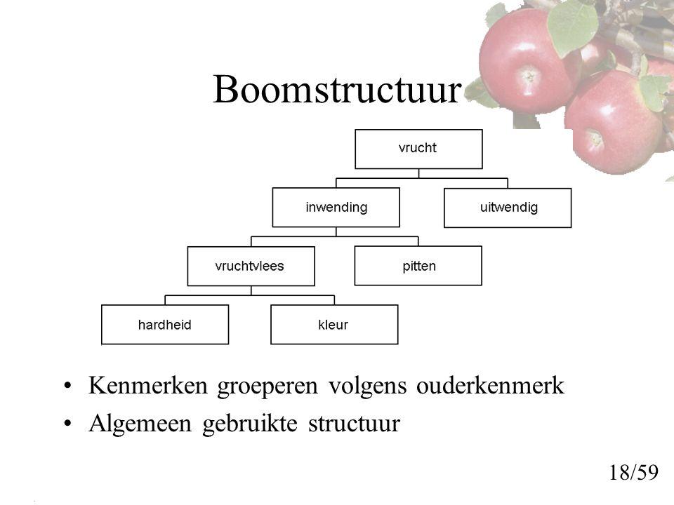 Boomstructuur Kenmerken groeperen volgens ouderkenmerk Algemeen gebruikte structuur 18/59
