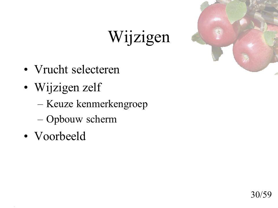 Wijzigen Vrucht selecteren Wijzigen zelf –Keuze kenmerkengroep –Opbouw scherm Voorbeeld 30/59