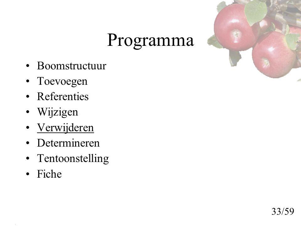 Programma Boomstructuur Toevoegen Referenties Wijzigen Verwijderen Determineren Tentoonstelling Fiche 33/59