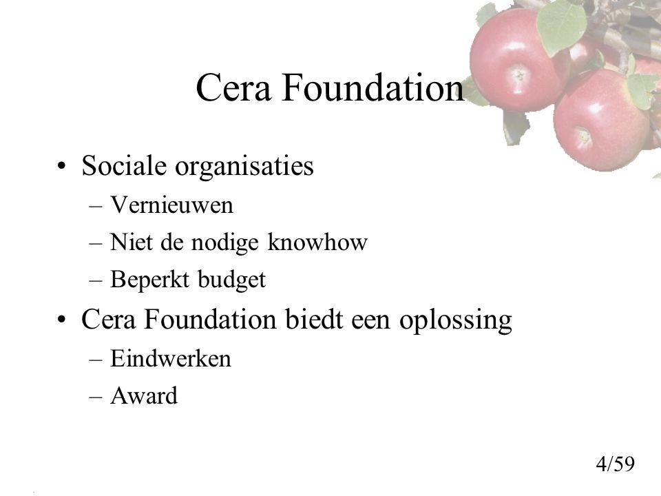 Cera Foundation Sociale organisaties –Vernieuwen –Niet de nodige knowhow –Beperkt budget Cera Foundation biedt een oplossing –Eindwerken –Award 4/59