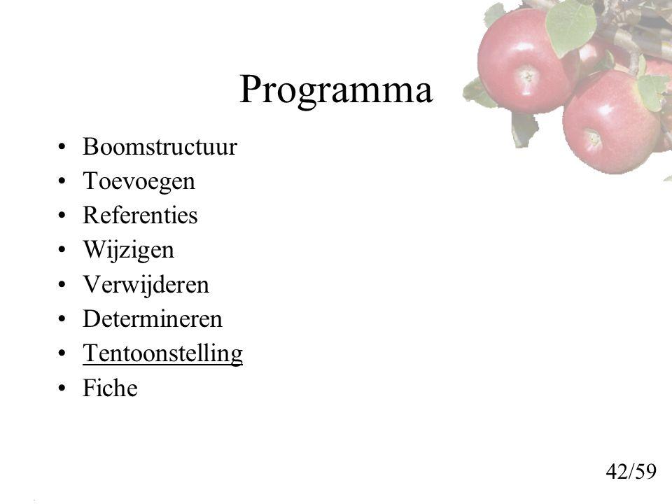 Programma Boomstructuur Toevoegen Referenties Wijzigen Verwijderen Determineren Tentoonstelling Fiche 42/59