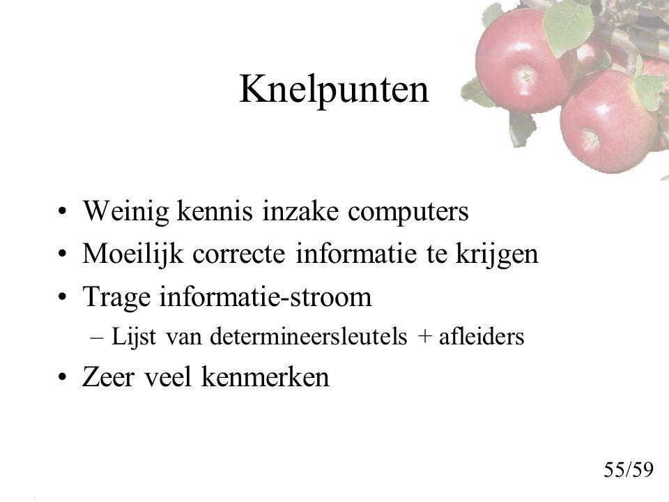 Knelpunten Weinig kennis inzake computers Moeilijk correcte informatie te krijgen Trage informatie-stroom –Lijst van determineersleutels + afleiders Zeer veel kenmerken 55/59