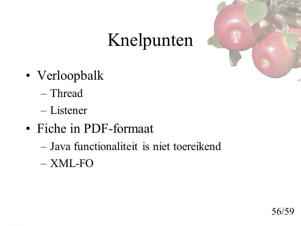 Knelpunten Verloopbalk –Thread –Listener Fiche in PDF-formaat –Java functionaliteit is niet toereikend –XML-FO 56/59