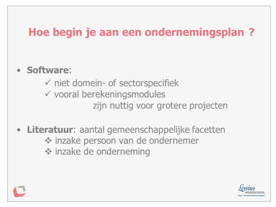 Rangschikking door Geert Van den Bosch (thesis 2003) 1.EasyStart (Nl): gebruiksvriendelijk informatief, uitgebreid 2.Starterscoach (Unizo): stapsgewijze, heldere opbouw  Startwijzer Vlaamse product beperkter in lay-out, grafieken 3.Businessplan Pro (VS): krachtige opmaak & rekenfuncties minder gebruiksvriendelijk 4.Plan Magic: weinig flexibel laat inconsistenties toe Businessplanningsoftware: een vergelijkend onderzoek