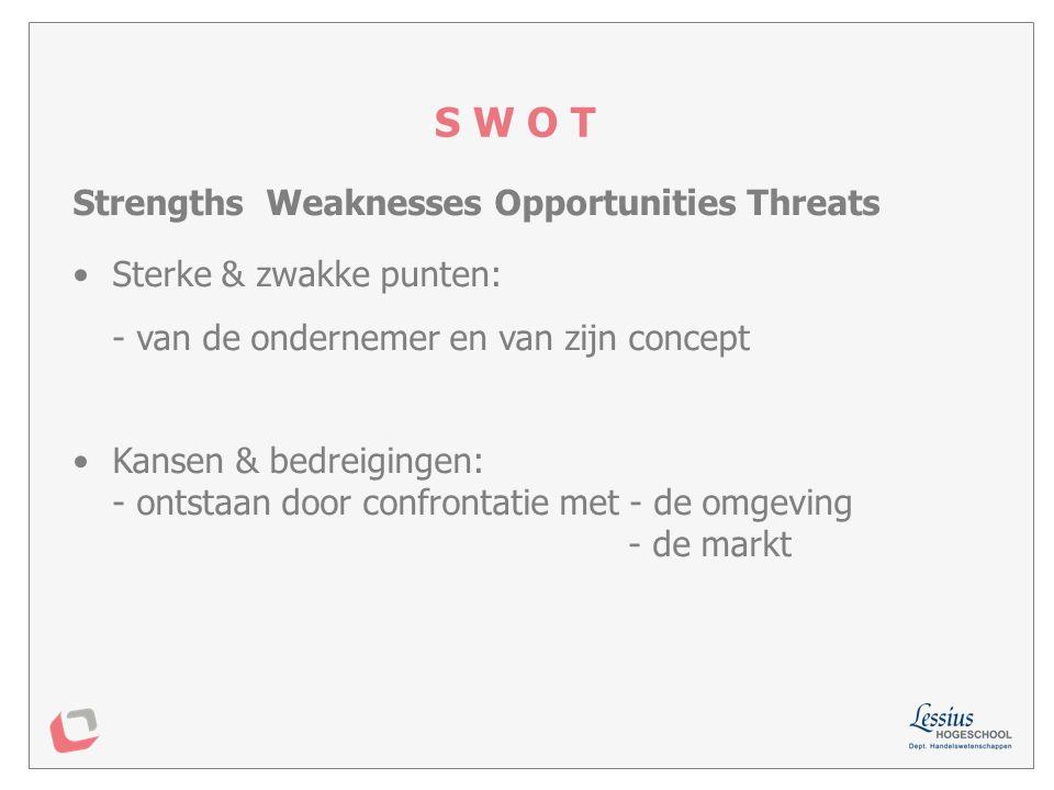 Sterk - Zwak ervaring bestaande contacten toegang tot productiecapaciteit financiële middelen motivatie / flexibiliteit / inzet.....